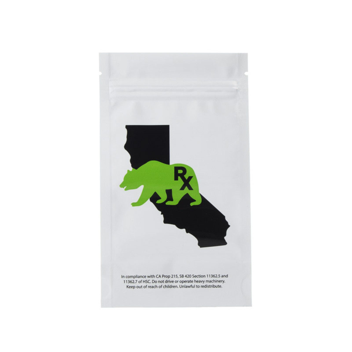 Quarter Ounce Cali Bear White/Clear Barrier Bags (100 Qty.)