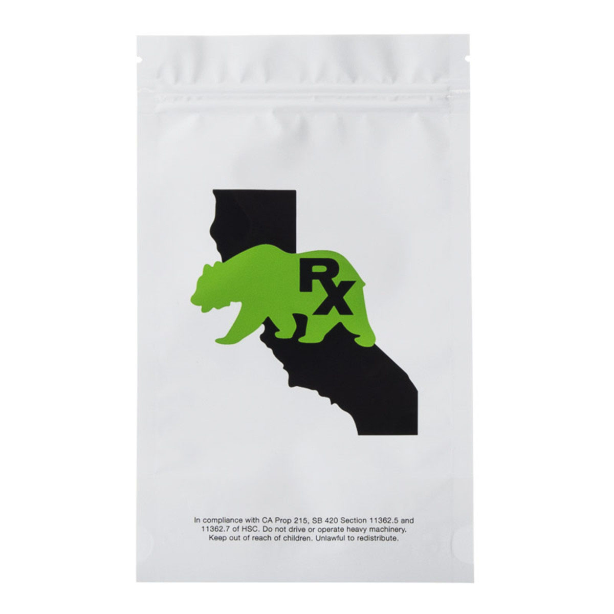 Half Ounce Cali Bear White/clear Barrier Bags (100 Qty.)
