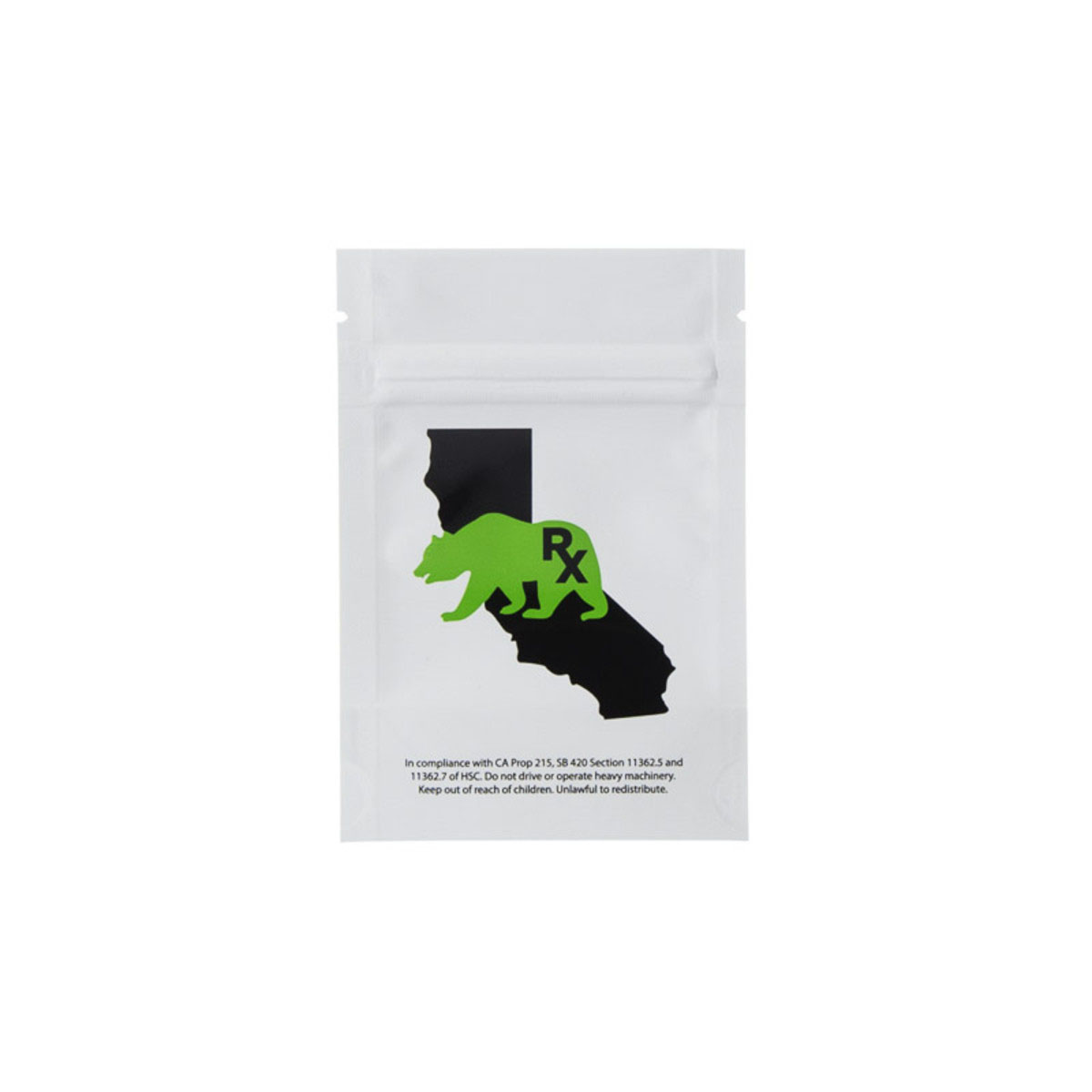 Eighth Ounce Cali Bear White/clear Barrier Bags (100 Qty.)