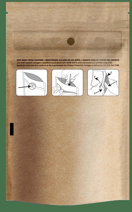 Eighth Ounce, Dymapak Child Resistant Bag, Kraft